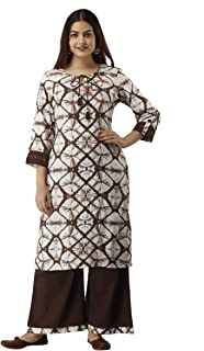UrbanEra Women's Rayon Printed Brown Kurta with Palazzo Set