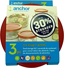 Anchor Hocking 30% Stronger Replacement Lid 3 x 2 Cup / 472ml / 0.5 qt, Red, Round, Improved