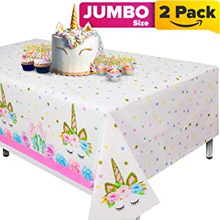 """Unicorn Tablecloth, Set of 2 Unicorn Table Cloth for Birthday Party, Extra-Large 108""""x54"""" Disposable Table Cover, Ideal Party Supplies for Unicorn Themed Baby Shower and Birthday Decoration for Girls"""