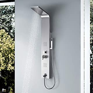 Vantory Shower Panel Tower Massage System Column Head SUS #304 Stainless Steel Multi-Function with Rainfall Waterfall Body Jets,Tub Spout, Brushed Nickel
