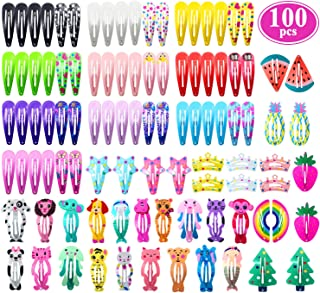 Hair Clips for Girls, Funtopia 100 Pcs No Slip Metal Snap Hair Clips Barrettes for Kids..