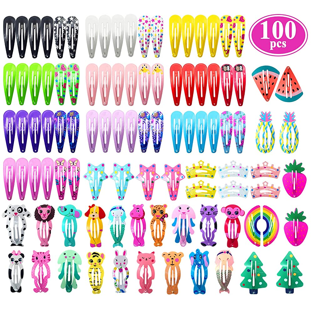 Hair Clips for Girls, Funtopia 100 Pcs No Slip Metal Snap Hair Clips Barrettes for Baby Girls Toddlers Kids Teens, Cute Candy Color Cartoon Design Hair Pins (Animals Fruits Crowns Stars)