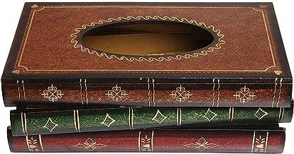 Antique Book Design Wood Bathroom Facial Tissue Dispenser Box Cover Novelty Napkin Holder