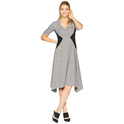 Donna Morgan Short Sleeve Fit and Flare Dress with Asymmetrical Hem (Brown Multi) Women