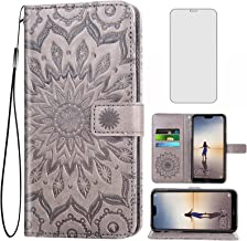 Phone Case for Huawei P20 Lite Wallet Cases with Tempered Glass Screen Protector and Leather Slim Flip Cover Card Holder S...