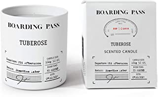 Boarding Pass Soy Candle, Burn in The Afternoon, Tuberose Gardenia Orange Blossom Cedar Wood Scented Candle, White, 5.6oz