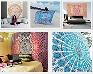 Future Handmade Wholesale 5 Twin Tapestry Wholesale Indian Printed Tapestries Mandala Tapestry Wall Hangings Wall Tapestry Ombre Beach Throw 100% Cotton Handmade Bedspread