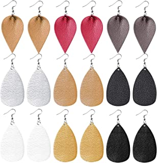 cridoz Leather Earrings for Women, 9 Pairs Leather Earrings Teardrop Faux Leather Earrings for Women Girls
