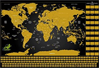 Scratch Off World Map Poster Deluxe Includes Complete Accessories Set All Country Flags Premium Wall Art for Travelers Too...