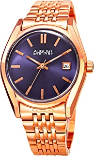 August Steiner Women's Colored Dial Watch - Radiant Sunray Dial with Date Window On Stainless-Steel Bracelet - AS8235