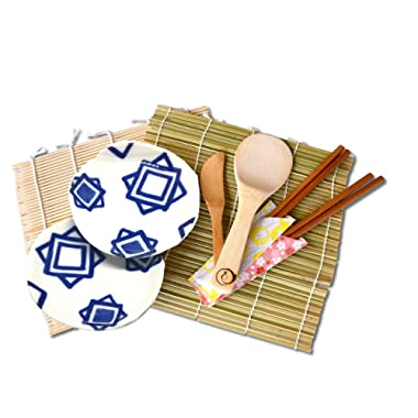 Bamboo Sushi Making Kit for Couples 2 Sushi Rolling Mats, Rice Paddle, Rice Spreader, 2 Chopsticks, 2 Plates Japan Natural Sushi Kit.