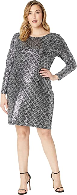 Plus Size Glitter Long Sleeve Cowl Back Dress