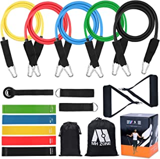 MH Zone Resistance Band Set 11 (16) pc Resistance Band Set with 5 Exercise Bands, Door Anchor and Legs Ankle Straps, Fit for Resistance Training, Home Gyms Workouts