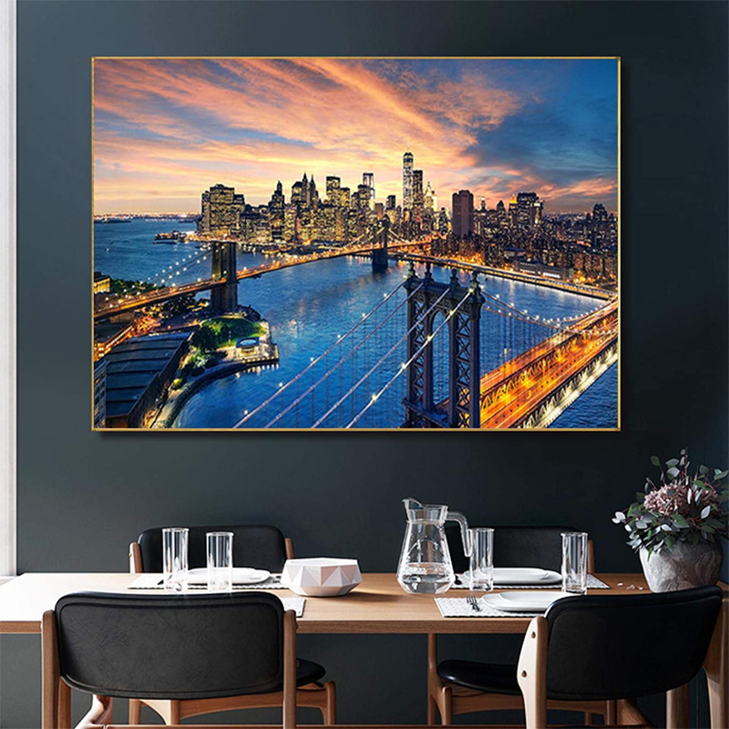 Canvas Sale Painting New York Brooklyn Bridge Sunset Manhattan Outlet ☆ Free Shipping Poster