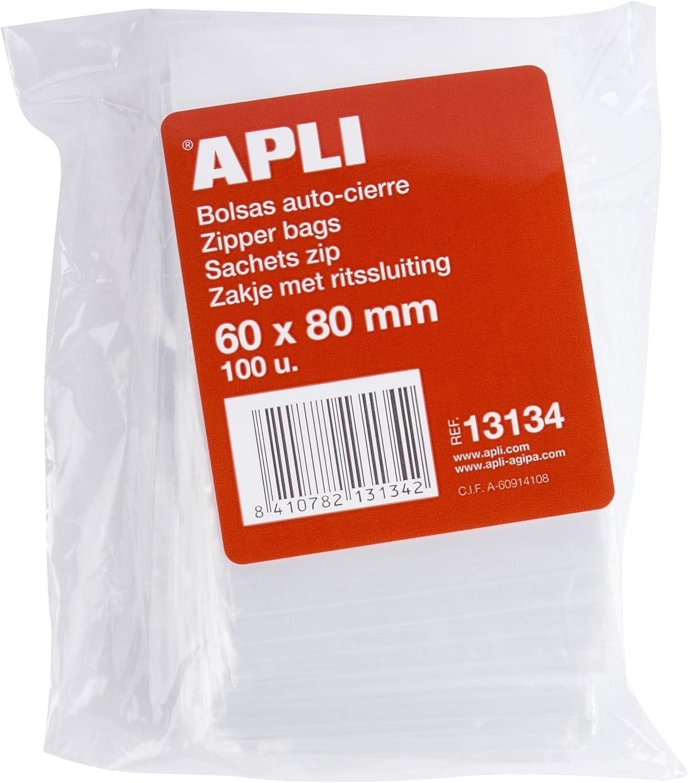 80 x 120 mm multicolore APLI 13135 Lot de 100 sacs en plastique avec fermeture automatique