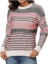 Kersttrui voor dames, met kleurstrepenprint, losse hoofdsweater, lange mouwen, gebreide trui, outwear, sweatshirt, tops, g...