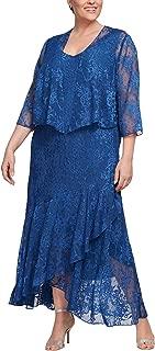 Women's Plus Size Tea Length Printed Chiffon Dress with Shawl
