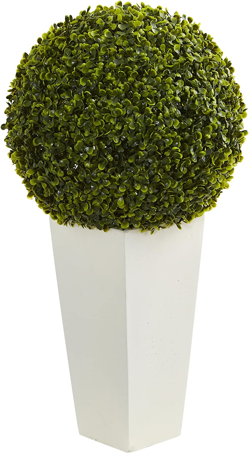 """Nearly Natural Artificial Plant (Indoor Outdoor) 28"""" Boxwood Topiary Ball in White Tower Planter, Green"""