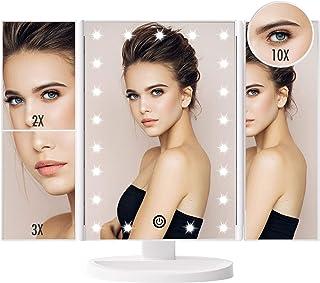 FASCINATE Espejo Maquillaje con Luz, Espejo de Mesa Tríptica Espejo con Aumentos 10x, 3X, 2X, 1x Iluminacíon 21 Led Pantal...