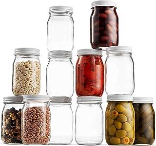 Glass Mason Jar 16 Ounce (1 Pint) - 12 Pack - Regular Mouth, Metal Airtight Lid, USDA Approved, Pickling, Preserving, Jam,...