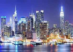 York City Backdrop Manhattan Night Scene Skyscraper Urban Light Skyline Background Photo Studio Porps 7x5FT