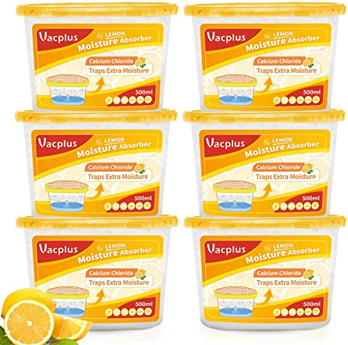 new arrival Vacplus Moisture Absorbers (6 pack), 10.5Oz Portable Humidity wholesale Absorber & Dehumidifier Boxes for wholesale Closet Effectively Trap Extra Moisture, Odor Eliminator with Lemon Fragrance for Fresher Air (Nickname:VA-M164LE) online sale
