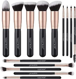 YEOTWIN 14Pcs Makeup Brushes, Premium Synthetic Foundation Brush, Blending Face Powder Blush Concealers Eye Shadows Make Up Brushes set, eyebrow brush (Rose Golden)