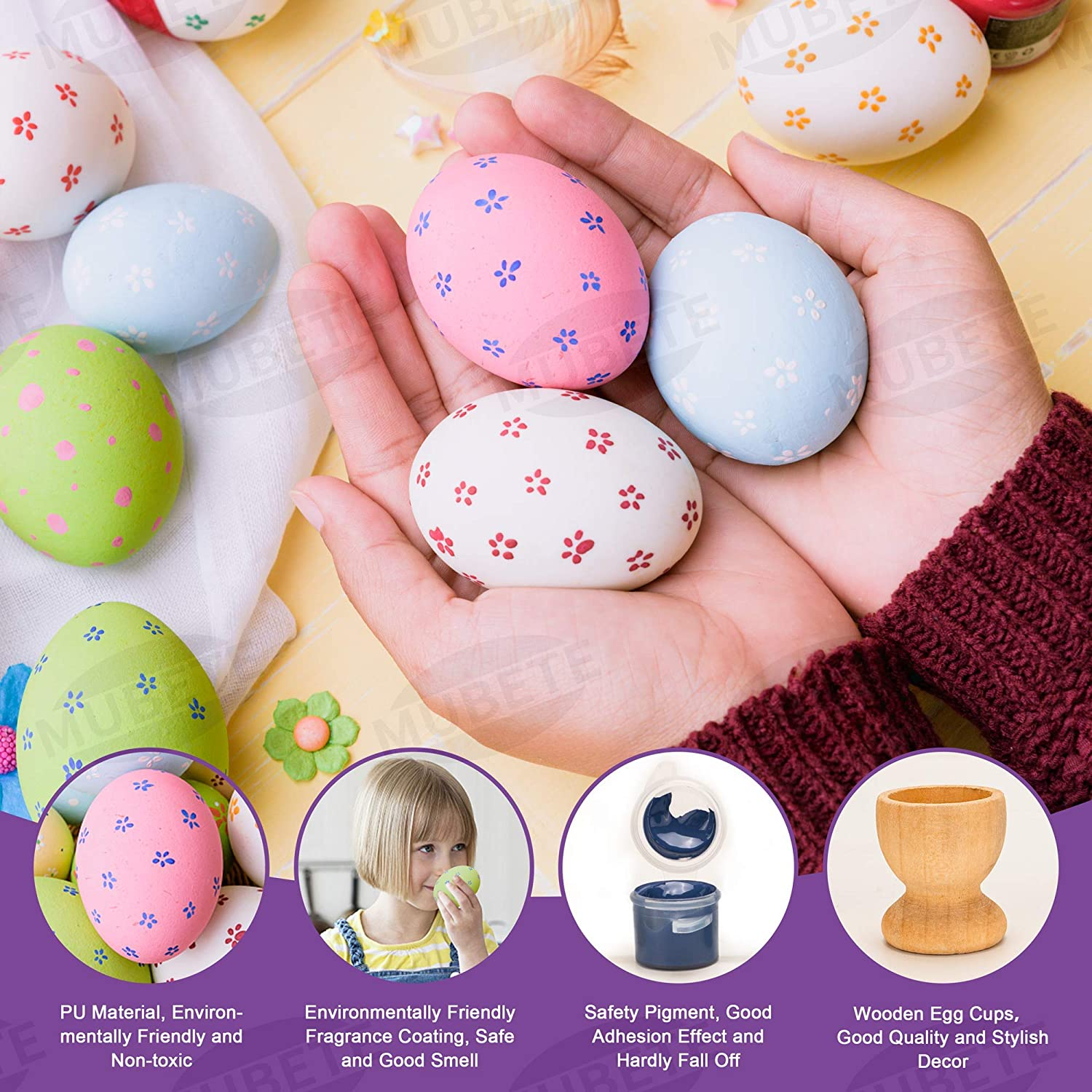 Colorful MUBETE Squishy Easter Eggs Painting Kit Arts and Crafts for Kids 4 and up Color Your Own Easter Decorations Egg DIY Squishies Painting Toys Gift for Boys,Girls