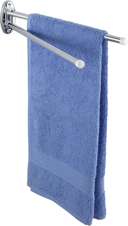WENKO Handtuchhalter Basic 2 bewegliche eckige Arme Edelstahl rostfrei 8 x 5 5 x 42 cm glänzend