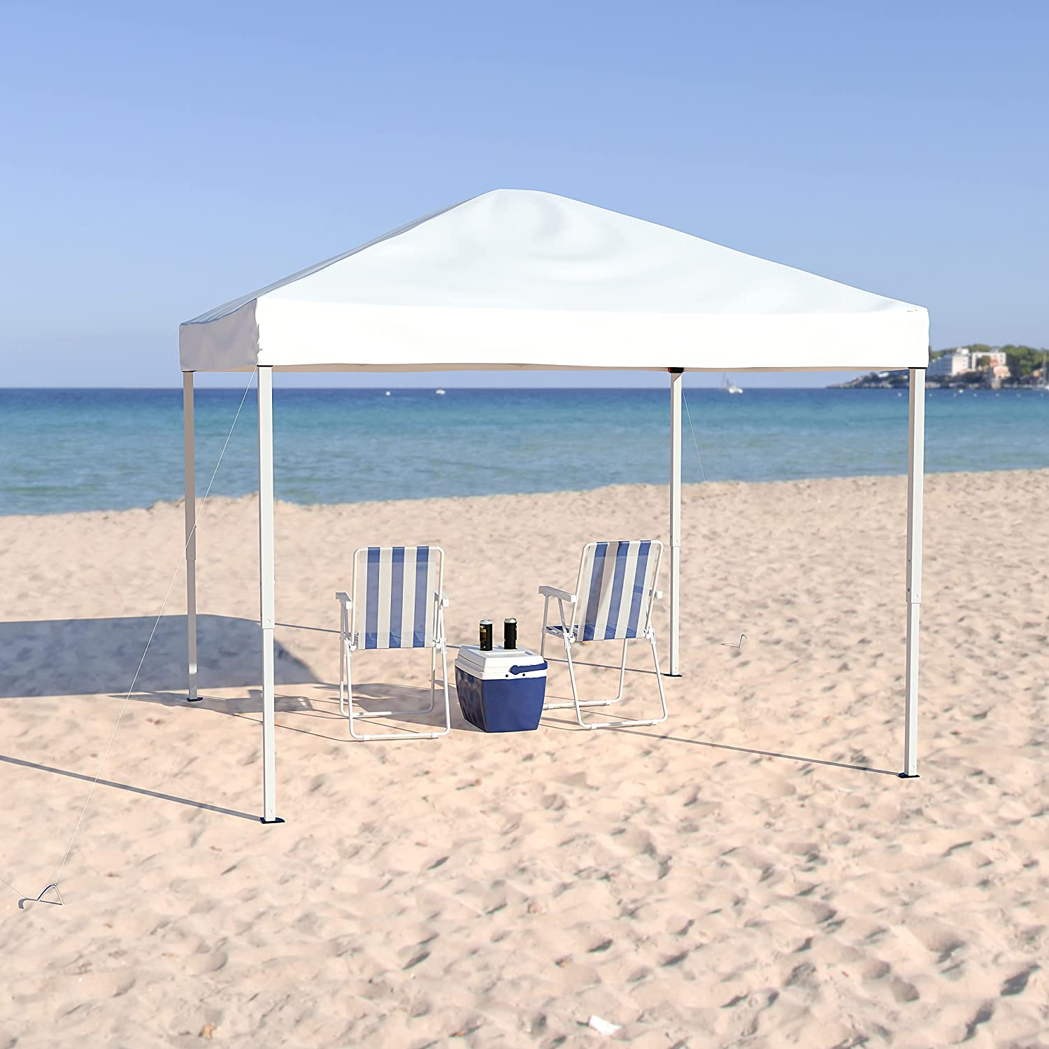 Flash Furniture OFFer 10'x10' Dallas Mall White Outdoor Pop Event C Slanted Leg Up