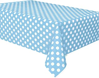 "Polka Dot Plastic Tablecloth, 108"" x 54"", Light Blue"