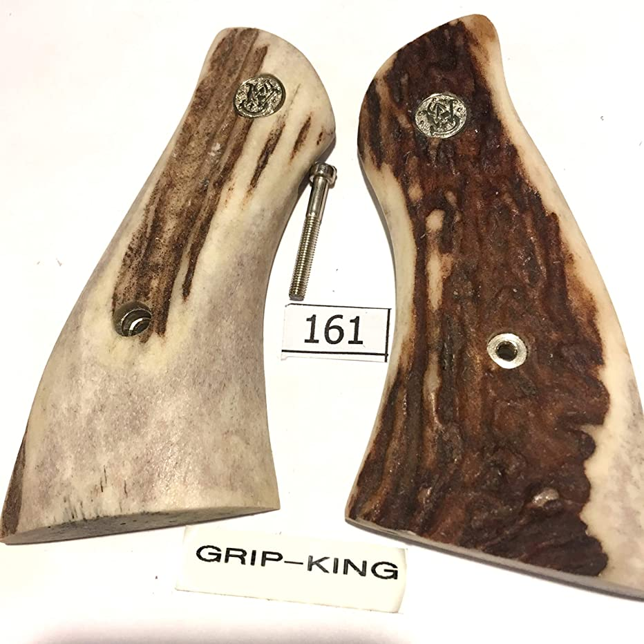 FITS SMITH & WESSON K FRAME SQUARE BUTT,$SALE $127.73, GENUINE SAMBAR STAG, HAS S & W SILVER MEDALLION. 1 OF A KIND #161