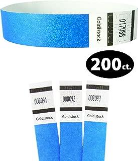 "Tyvek Wristbands - Goldistock Original Series Horizon Neon Blue 200 Count - ¾"" Arm Bands - Paper-Like Party Armbands - Heavier Tyvek Wrist Bands = Superior Events"