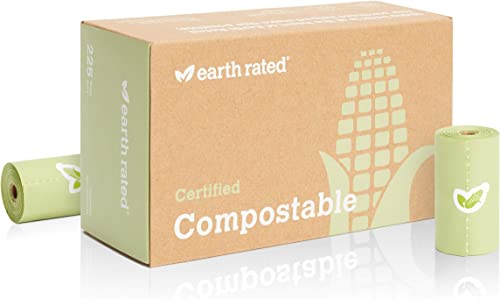 Earth Rated Certified Compostable Dog Poo Bags - Plant-Based Poop Bags For Dogs | 225 Unscented Doggie Waste Bags - V...