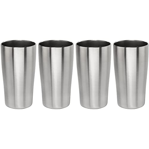 Stainless Vacuum Insulated Beer Tumbler - 16oz Pub Pint Glass by Lancaster Steel, set of 4
