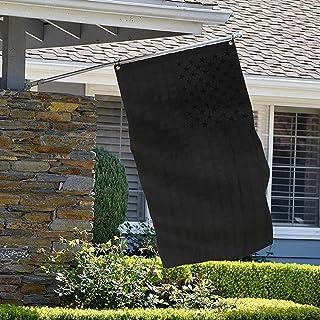 علم أمريكي باللون الأسود من Clytte مقاس 3 × 5 أقدام، أسود نقي مع نجوم مطرزة، أشرطة مخيطة، لافتة أمريكية سوداء صلبة للأعلام...