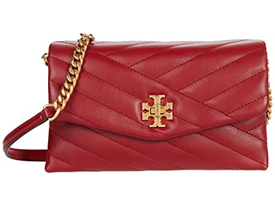 Tory Burch Kira Chevron Chain Wallet (Redstone/Rolled Brass) Wallet Handbags