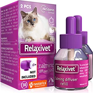 Relaxivet Natural Cats&Dogs Calming Pheromone Diffuser Refills - Improved No-Stress Formula - Anti-Anxiety Treatment #1 fo...