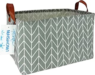 Rectangular Storage Bin Canvas Fabric Folding Gift Basket with Handles- Toy Box/Toy Storage/Toy Organizer for Boys and Girls - Nursery Hamper(Grey Point)