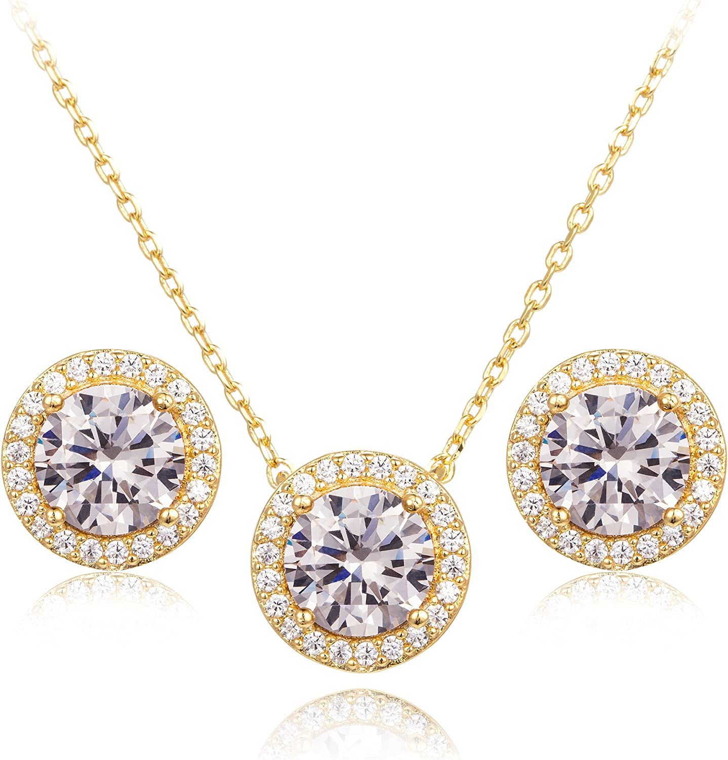 CC&La Dame Cubic Zirconia Round Halo Stud Earrings and Pendant Necklace Jewelry Set