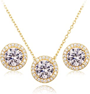 Cubic Zirconia Round Halo Stud Earrings and Pendant Necklace Jewelry Set
