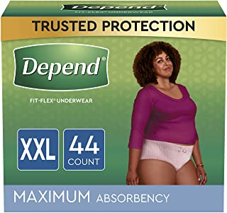 Depend FIT-FLEX Incontinence Underwear For Women, Disposable, Maximum Absorbency, XXL, Blush, 44 Count (2 Packs of 22) (Pa...