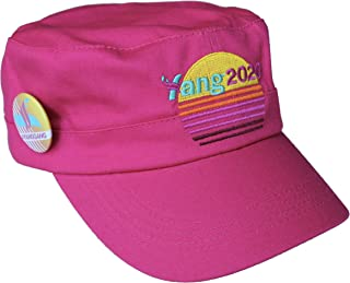 Andrew Yang 2020 Pink Vaporwave Meme Military hat and #yanggang pin