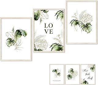 Gloria Therese - Lot de 3 affiches de qualité supérieure - 3 images recto-verso avec palmiers et monstera parfaites pour c...