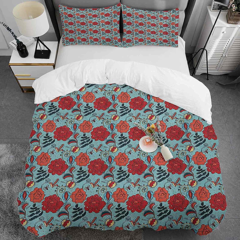 Floral Duvet Cover Queen Size Fern Some reservation Venus Petals Leaves F 5 popular Flower