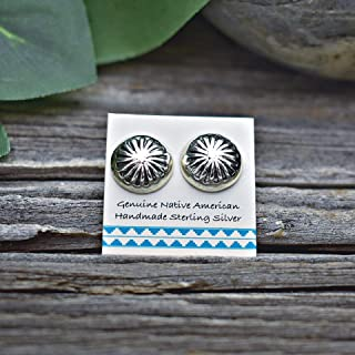 11mm Sterling Silver Concho Stud Earrings, Handmade in the USA, Nickle Free for Sensitive Skin, Light and Dainty for Women, Southwest jewelry