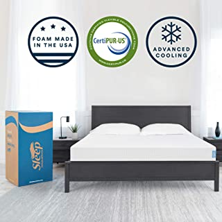 Sleep Innovations Marley 8-inch Cooling Gel Memory Foam Mattress Bed in a Box, Made in The USA, 10-Year Warranty, Full, White