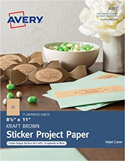Avery Full-Sheet Sticker Project Paper, Kraft Brown, Removable Adhesive, 8-1/2 x 11, Pack of 15 (4392)