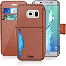 Samsung Galaxy S 7 Edge / S7 Edge Leather Wallet Case with Cards Slot and Metal Magnetic, Slim Fit and Heavy Duty Protection, TAKEN Plastic Case with Rubber Edge, for Women, Men, Boys, Girls - Brown