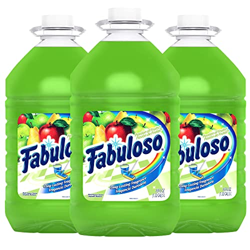Fabuloso All Purpose Cleaner Passion of Fruits Bathroom Cleaner Toilet Cleaner Floor Cleaner Washing Machine and Dishwasher Surface Cleaner Mop Cleanser 169 Ounce (Pack of 3) (MX04966A)